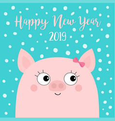 Happy new year 2019 pig piggy piglet girl face vector