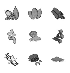 Herb and spices set icons in monochrome style Big vector