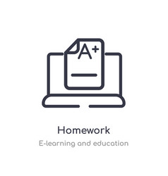Homework outline icon isolated line from vector