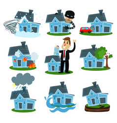 house insurance business service set property vector image