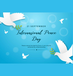 international peace day in blue bokeh background vector image
