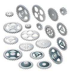 isometric big set a gear wheels vector image