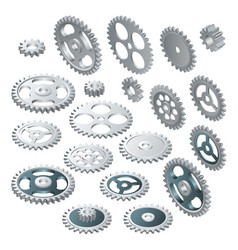 Isometric big set of a gear wheels vector
