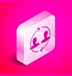 Isometric human resources icon isolated on pink vector