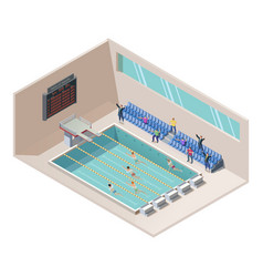 Isometric swim race in swimming pool vector