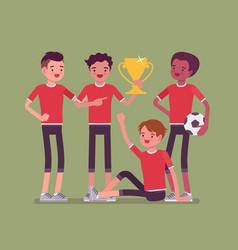 junior football or soccer players team winner vector image