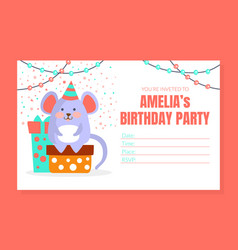 kids birthday party invitation card template with vector image