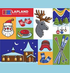 lapland travel destination santa claus house and vector image
