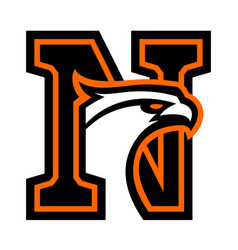 Letter n with eagle head vector