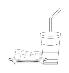 Line delicios sausage and soda plastic cup meal vector