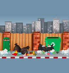 litter in the urban town vector image