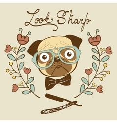 Look sharp hand drawn card with cute french vector image