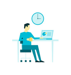 man sitting on his workplace and drink coffee or vector image
