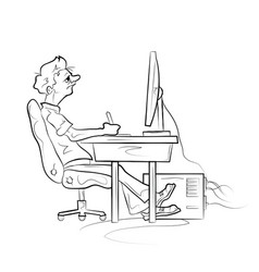 Man works on computer vector