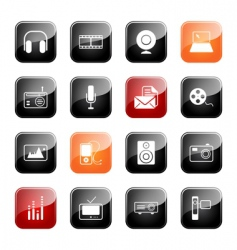 mass media icons glossy series vector image vector image