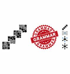 Mosaic blockchain icon with distress grammar stamp vector