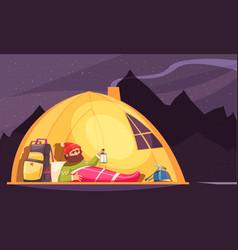 Mountaineering alpinist tent cartoon vector
