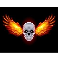 Mysterious dark Chrome metal skull wings 01 vector