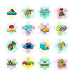 Natural disaster icons set pop-art style vector