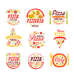 Pizza house pizzeria premium menu logo templates vector