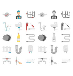 Plumbing fitting cartoonmono icons in set vector