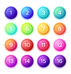 Pointing number on gradient bullet button icon vector