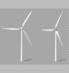 Realistic white wind turbine vector