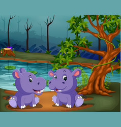 river view with two big purple hipopotamus vector image