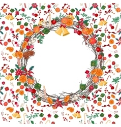 Round festive Christmas wreath with fruits vector image