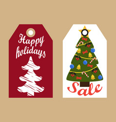 Sale decorative tags with new year decorated trees vector