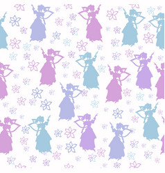 seamless pattern with fairies silhouette in pastel vector image