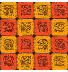 Seamless pattern with glyphs maya periods vector