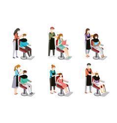 Set hairdresser doing hair customers vector