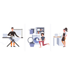 set man ironing clothes woman putting dirty vector image