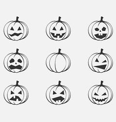 Set Pumpkins for Halloween silhouette vector image