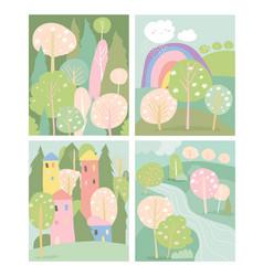 set spring landscape in flat style vector image