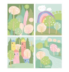 Set spring lanscape in flat style vector