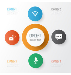 Social icons set collection of wireless vector