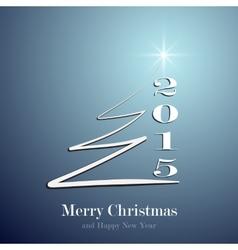 Stylized Christmas tree on decorative blue vector image