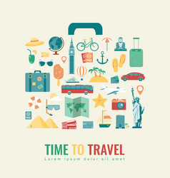 Suitcase silhouette with travel flat icons travel vector