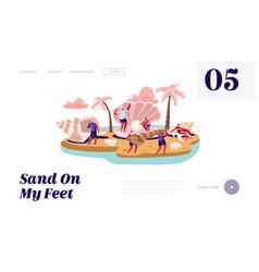 summer vacation website landing page happy vector image