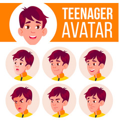 Teen boy avatar set face emotions school vector