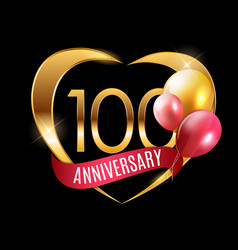 Template gold logo 100 years anniversary with vector