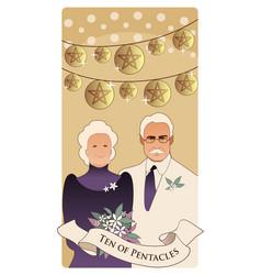 Ten pentacles tarot cards elegant and happy vector