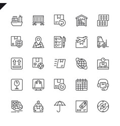 Thin line logistics delivery icons vector