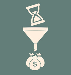 Time is money hourglasses turn into money bags vector