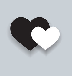 two hearts black and white heart icon with shadow vector image