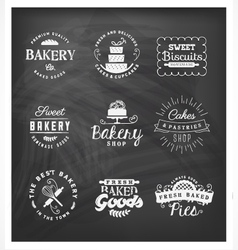 Typographical Bakery Badges and Design Elements vector image
