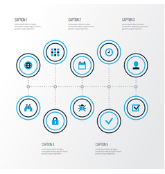 user icons colored set with lock user find and vector image