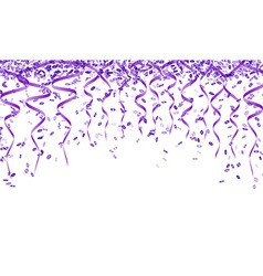 Violet confetti and ribbons vector